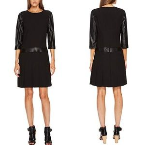 NWT The Kooples Leather Trim Shift Dress